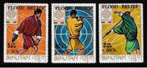 Bhutan Three Stamps from the Mexico City Olympics Overprnted/Surcharged B3-B7