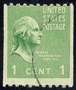 848 1 cent George Washington coil Stamp used F