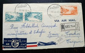 """VERY RARE LEBANON ONLY 15 KNOWN """"AIR FRANCE FLOWN COVER"""" REGISTERED OVERPRINT"""