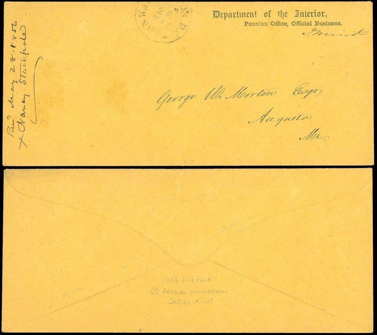 1856 Washington Dc Cds Dept Of Interior Pension Office O B Cover