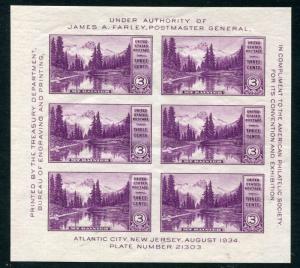 #750 1934 3c PARKS SOUVENIR SHEETS MINT OG/NH CV $32.00