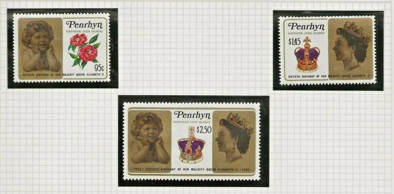 PENRHYN-NORTH COOK ISLANDS 1986 60TH BIRTHDAY QUEEN ELIZABETH 11 ,SET OF 3 PERF