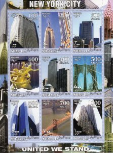 Congo 2002 NEW YORK CITY UNITED WE STAND Sheet (9) Perforated Mint (NH) #2