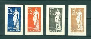 Denmark. 4 Stamps. Essays,Test-print,Proof. Thorvaldsen 1838-1938. 15 ore.