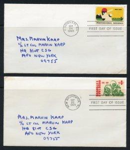 United States Scott 1381-82 - 1969 Baseball/Football FDC Set - SCV $18.50