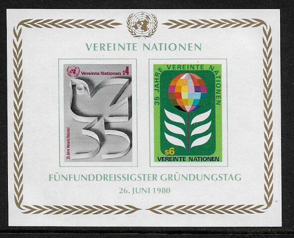 UN, Vienna #14 MNH S/Sheet - 35th Anniversary
