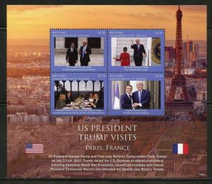MUSTIQUE  2018  PRESIDENT TRUMP VISITS PARIS FRANCE  SHEET MINT NH