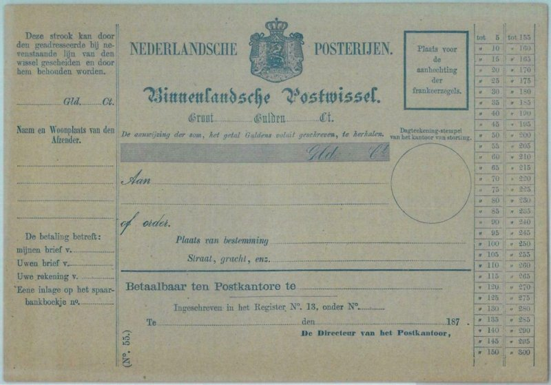 88942  -  NETHERLANDS  - Postal History - STATIONERY  CARD: Money Order 1870's