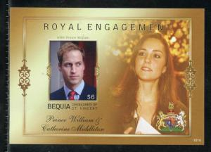BEQUIA  ENGAGEMENT OF PRINCE WILLIAM & KATE MIDDLETON  IMPERF S/SHEET I  NH