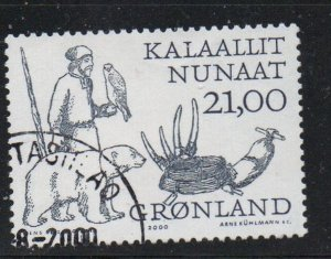 Greenland Sc 361 2000 21 kr Man with Bear & Falcon stamp used