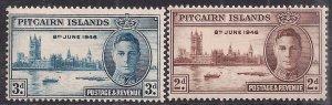 Pitcairn Islands 1946 KGV1 Set of Victory Umm SG 9 – 10 ( B667 )