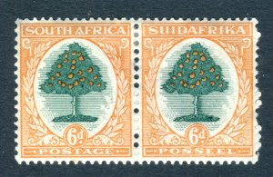 South Africa 1930. Unused pair x 6d green & orange. Mint Hinged. SG47.