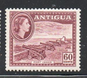 Antigua Sc 118 1953 60c QE II & Fort James stamp mint