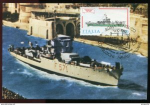 d117 - ITALY 1980 Maximum Card. MAXI Postcard. Navy Corvette Ship