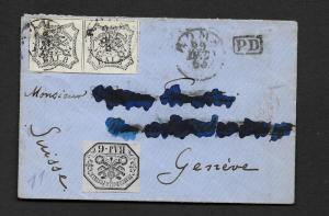 ROMAN STATES   1866 6b & 8b    on  COVER LETTER to GENIVE