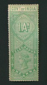 INDIA QV TELEGRAPH STAMPS 1AS MINT