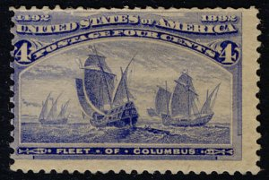 US #233 SCV $50.00 F/VF mint hinged, very fresh color,   Nice and Fresh!  SCV...