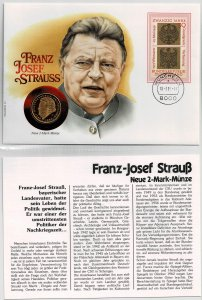 Germany 1991, Franz Josef Strauss, bavarian prime minister, coin cover