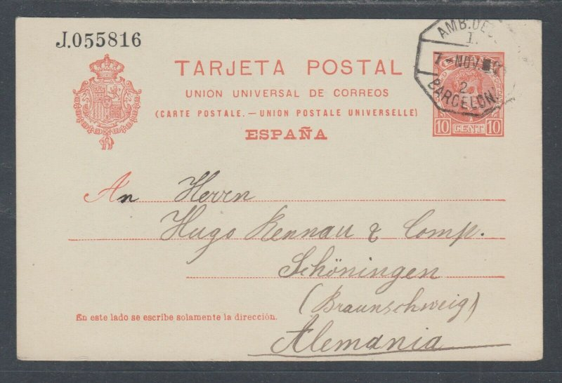 Spain H&G 44 used. 1905 10c Postal Card, BARCELONA-SCHONINGEN, Germany, clean