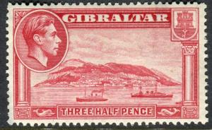 GIBRALTAR-1938-51 1½d Carmine Perf 13½.  A mounted mint example Sg 123a