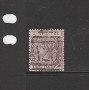Gibraltar 1886/7 2d Brown Purple, Used with A26 cancel, SG 10