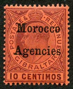 Morocco Agencies SG25d 10c dull purple/red wmk Mult Crown CA Chalky U/M