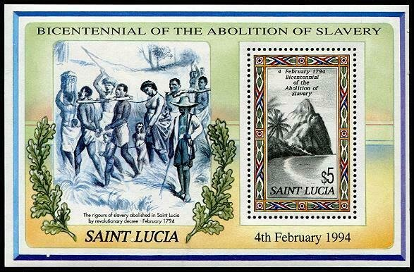 HERRICKSTAMP ST. LUCIA Sc.# 1009 Abolition of Slavery S/S