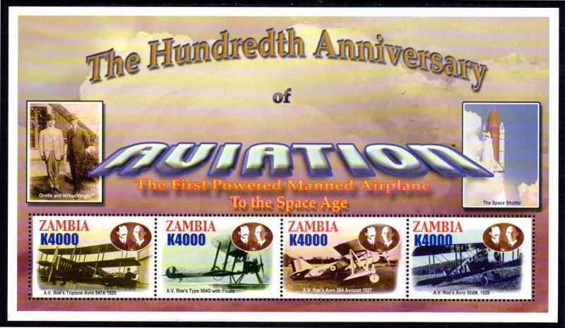 ZAMBIA 1025-1026 MNH S/S SCV $12.75 BIN $7.75 AVIATION