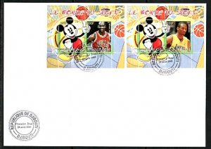 Djibouti, 2008 Cinderella issue. Disney & Basketball, First day cover. ^