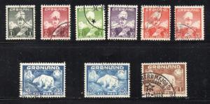 Greenland 1938 -1946 King & Polar Bear long stamp set used