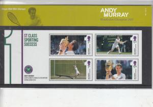 2013 ANDY MURRAY SPORTING SUCESS MINI SHEET PRESENTATION PACK No M21