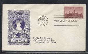 US #943 29 Smithsonian Institute Ioor cachet addressed fdc