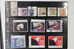 US High denomination priority postage lot 12 $1 $2 $5 used plate # singles eagle