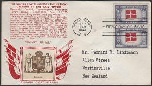USA 1943 CROSBY photo FDC to New Zealand - Overrun Nations Denmark.........55391