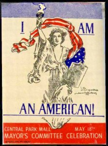 I Am An American 1941 Poster Stamp NY Pro WWII Rally Howard C. Christy Artist