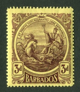 Barbados 1916. 3d deep purple/yellow. Thick paper. Mint Hinged. SG186a.
