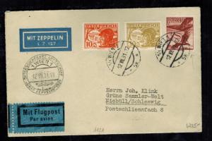 1931 Vienna Austria Graf Zeppelin cover to Niebull Germany Austria Flight LZ 127