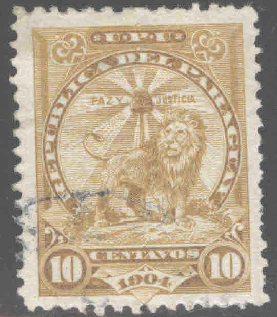 Paraguay Scott 100 Used Sentinel Lion ink spot
