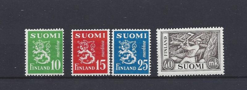 Finland, 302-05, Lion & Chopper Types Singles, **Hinged**