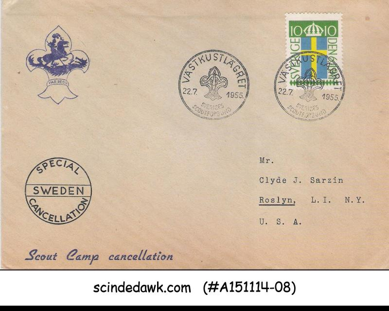 SWEDEN - 1955 - SPECIAL CANCELLATION - BOY SCOUT CAMP CANCELLATION - COVER