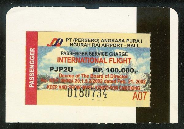 Indonesia Bali Passenger Service Charge !00,000 RP Tax Stamp on Ticket Stub