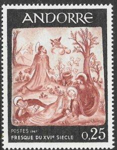 ANDORRA FRENCH ADMIN 1967 25c Jesus in Garden of Gethsemane Sc 178 MNH