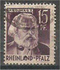 RHINE PALATINATE, 1947, used 15pf, Karl Marx Scott 6N5