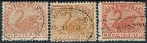WESTERN AUSTRALIA 1905 SWAN 4D ALL 3 SHADES WMK CROWN/A PERF 12.5 USED