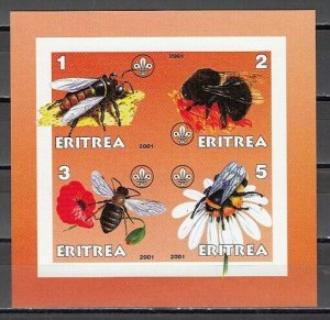 Eritrea, 2001 Cinderella issue. Honey Bees on an IMPERF sheet of 4.