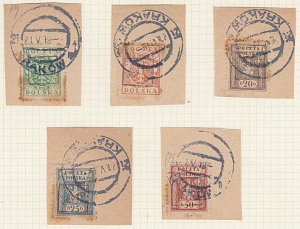 POLAND 1919 Krakow local overprint postage dues - 5 used on pieces..........A608