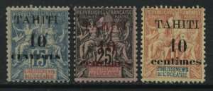 Tahiti 1903 all overprinted 10 centimes on 15, 25, and 40 centimes mint o.g.
