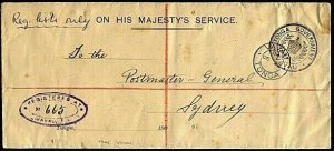 TONGA 1904 Registered OHMS cover ex VAVAU to PMG Sydney....................21015