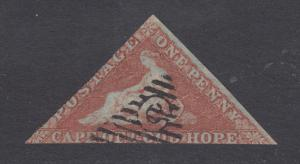 Cape of Good Hope Sc 1, SG 3, used.  1853 1p brick red Hope Seated, blued paper