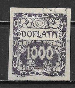Czechoslovakia J13 1000h Postage Due single Used (lib) (z3)